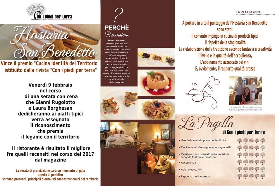 """Premio """"Cucina Identità del Territorio"""" all\'Hostaria San Benedetto ..."""
